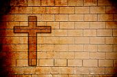 Grunge Texture Of Wall With Cross