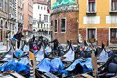 stock photo of gondolier  - VENICE ITALY December 28 2010 - JPG