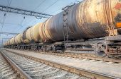 picture of railroad car  - Oil tanker cars on the railway cargo station on a cloudy day - JPG