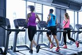 picture of treadmill  - group of young people running on treadmills in modern sport  gym - JPG