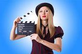 picture of gangster  - Woman gangster with movie board on white - JPG