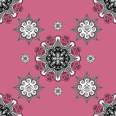 picture of mehndi  - Folk Inspired  Wallpaper Pale violet Red with mehndi elements - JPG