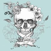 stock photo of day dead skull  - Skull and Flowers Day of The Dead - JPG