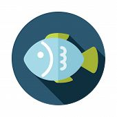 image of long-fish  - Fish flat icon with long shadow eps 10 - JPG
