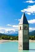 picture of south tyrol  - tower of sunken church in Resia lake - JPG