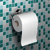 picture of toilet  - roll of white toilet paper hanging on a chrome toilet roll holder on an mosaic tile background - JPG