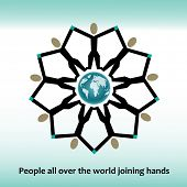 foto of reach the stars  - People reaching holding hands globe in Center icon  - JPG