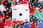 stock photo of ace spades  - Stack of chips and cards - JPG