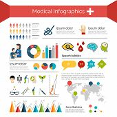 picture of ecg chart  - Medical infographics set with human anatomy healthcare symbols charts and world map vector illustration - JPG