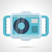 image of pro-life  - Flat color design vector icon for blue camera in waterproof case for snorkeling and diving yellow stripes on white background - JPG