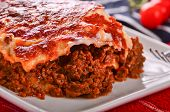 pic of lasagna  - Fresh Home Made beef Lasagna topped with melted cheese - JPG