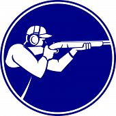 foto of shotgun  - Icon illustration of a man with shotgun shooting aiming in trap shooting sport viewed from side set inside circle on isolated background done in retro style - JPG