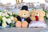 stock photo of teddy  - Romantic wedding in the banquet hall with teddy bears on the table - JPG