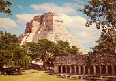 foto of mayan  - Vintage retro effect filtered hipster style image of anicent mayan pyramid  - JPG