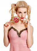 stock photo of lollipop  - Glamorous girl with big lollipop - JPG