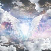 image of revelation  - Angel wings pull apart seam of mortals to reveal workings - JPG