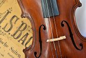pic of violin  - German ancient violin and notes - JPG