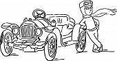 image of veterans  - man relies on his car veteran  - JPG