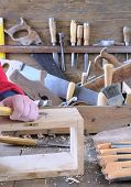 pic of workbench  - Carpenter working wood on the workbench carpentry - JPG