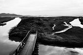 stock photo of oasis  - Oasis in Tuscany with a wooden bridge in a black and white picture - JPG
