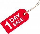 pic of going out business sale  - a red one day sale sign label - JPG