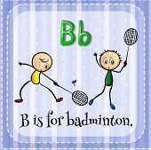 picture of letter b  - Flash card letter B is for badminton - JPG