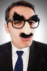 foto of moustache  - Funny businessman with eyebrows and moustache - JPG