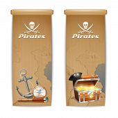 foto of pirate flag  - Pirate banner vertical set with retro treasure hunt symbols isolated vector illustration - JPG
