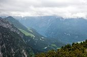 picture of bavarian alps  - Scenic Overview of Berchtesgaden National Park Lush Valley and Bavarian Alp Mountains Under Overcast Cloudy Sky - JPG