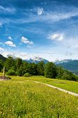 stock photo of plateau  - Footpath in the Berchtesgaden Alps in Germany crossing a lush green grassy plateau with a view to distant mountain peaks - JPG