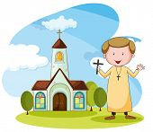 stock photo of priest  - Priest standing in front of the church - JPG