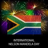 stock photo of nelson mandela  - illustration of a Flag with fireworks for International Nelson Mandela Day - JPG