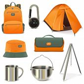 image of knapsack  - Eight scouting icons including tent - JPG
