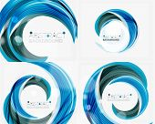 stock photo of slogan  - Vector blue swirl line abstract background - JPG