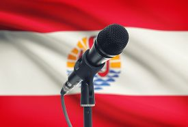 pic of french polynesia  - Microphone with national flag on background series  - JPG