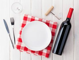 pic of wooden table  - Table setting with empty plate - JPG
