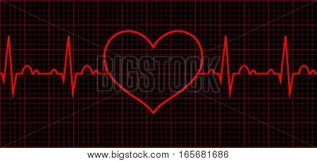 poster of Heart beat cardiogram. Sign Cardiac cycle. Vector logo for web design, mobile and infographics. Vector illustration eps10. RGB color model