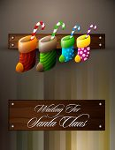 Waiting For Santa Claus | Christmas Family Concept | Vector Card