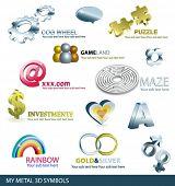 set of metal 3d symbols