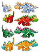 Types of dinosaurs. Funny cartoon and vector animal characters.