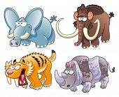 Prehistoric animals. Funny cartoon and vector isolated characters
