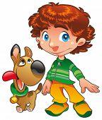 Muchacho con amigo del perro. Divertidos personajes de dibujos animados y vector