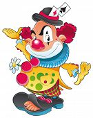 The clown. Funny cartoon and vector character