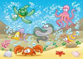 Family of marine animals in the sea. Funny cartoon and vector illustration