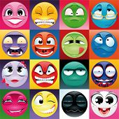 Group of expression with background. Funny vector and cartoon elements.