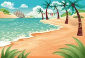 Cartoon seascape. Vector illustration