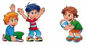 Three kids are playing. Funny cartoon and vector characters