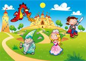 Medieval Age - Princess, Prince, Dragon, Magician. Funny cartoon illustration with background, isola