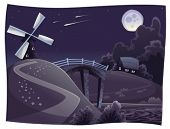Countryside with windmill in the night. Vector and cartoon landscape. Objects isolated.