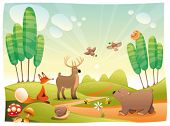 Animals in the wood. Funny cartoon and vector illustration, isolated objects
